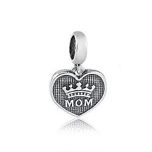 Berloque de Prata Pingente Coração Mãe com Coroa