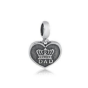 Berloque de Prata Pingente Coração Pai com Coroa
