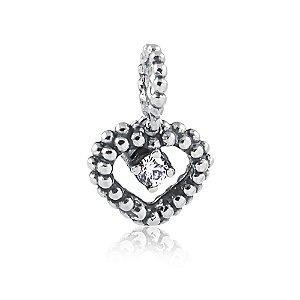 Berloque de Prata Pingente Coração Vazado Ponto de Luz