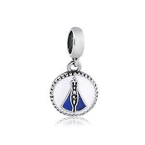 Berloque de Prata Medalha Nossa Senhora Branco