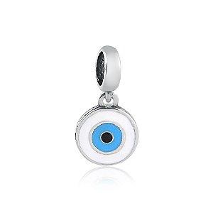 Berloque de Prata Pingente Olho Grego Branco