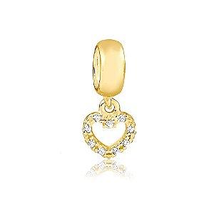 Berloque Mini Coração com Zircônias Folheado a Ouro