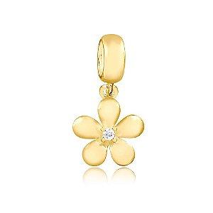 Berloque Pingente Flor com Zircônia Folheado a Ouro