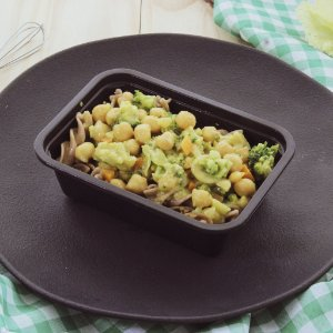 Dhal de grão de bico com brócolis e parafuso integral alho e óleo 300g