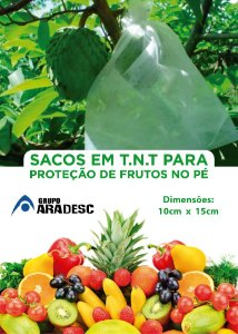 SACO PARA PROTEÇÃO DE FRUTAS NO PÉ EM 10 X 15 cm EM TNT