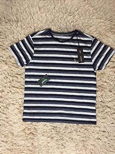 Camiseta Masculina Reserva Listrada Cinza e Azul