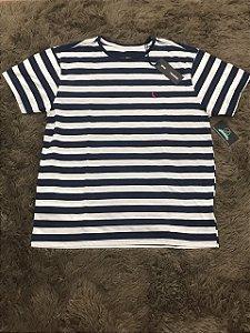 Camiseta Masculina Reserva Listrada Azul e Branca