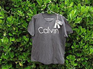 Camiseta Masculina Calvin Klein Cinza Sem Gola