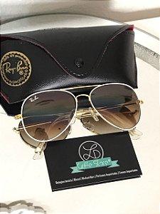 * Oculos de Sol Ray Ban Aviador Armação Branca Lente Marrom Degrade