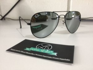 * Oculos de Sol Ray Ban Aviador Espelhado Armação Preta Cinza Espelhado