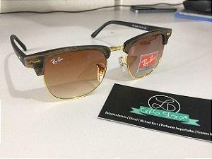 * Oculos de Sol Ray Ban Clubmaster Madeira Lente Degrade Marrom