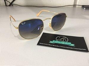 * Oculos de Sol Ray Ban Hexagonal Armação Dourada Lente Azul Degrade