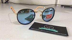 * Oculos de Sol Ray Ban Round Double Bridge Dobravel Armação Dourada Lente Espelhada