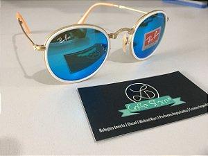* Oculos de Sol Ray Ban Round Double Bridge Dobravel Armação Dourada Lente Azul Espelhada