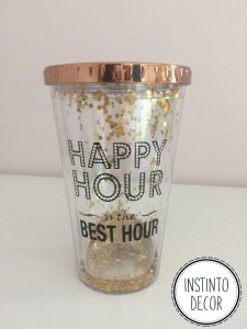 Copo com canudo e glitter com tampa Happy Hour Best Hour 450ml