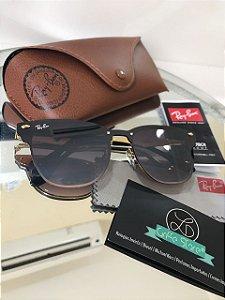 Óculos de Sol Ray Ban Blaze Clubmaster Marrom RB 3576