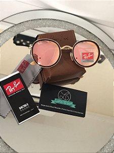 Óculos de Sol Ray Ban Round Dobravel Rosa Espelhado RB 3517