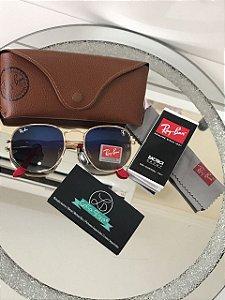 Óculos de Sol Ray Ban Hexagonal Ferrari Scuderia Limitado Degradê RB 3548