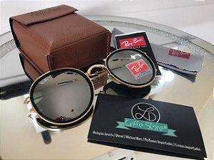 Óculos de Sol Ray Ban Round Dobravel Armação Dourada Lente Espelhada RB 3517