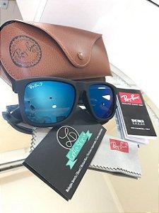 Óculos de Sol Ray Ban Justin Azul Espelhado Polarizado RB 4165