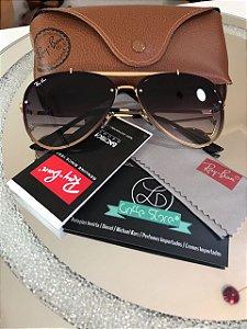 Óculos de Sol Ray Ban Aviador Lente Marrom Degradê Escuro