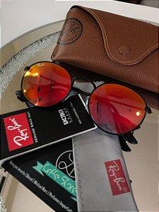 Óculos de Sol Ray Ban Round Lente Espelhada Laranja RB 3447