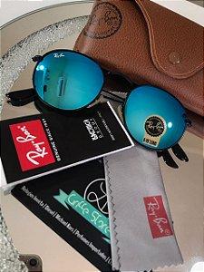 Óculos de Sol Ray Ban Round Azul Espelhado RB 3447
