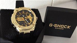 Relogio Gshock Primeira Linha Dourado Aluminio Silicone Detalhe Interno