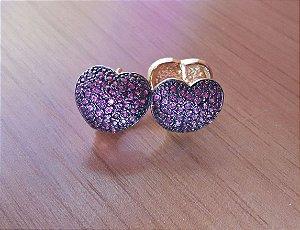 Brinco Coração Pedra Rosa