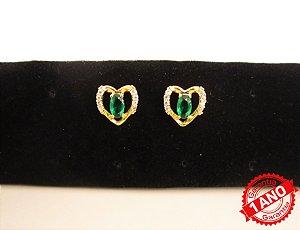 Brinco Coração Pedra Verde