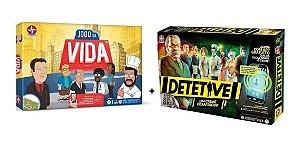 kit Jogos de  Tabuleiro Jogo Da Vida  + Detetive Estrela