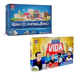 Kit Jogos de Tabuleiro Banco Imobiliário e Jogo Da Vida