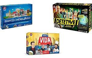 Kit Jogos Estrela Banco Imobiliário + Jogo Da Vida +Detetive