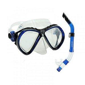 Kit Dry Onix Fun Dive Máscara + Snorkel Azul Dupla Válvula