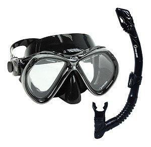 Kit Dry Onix Fun Dive Máscara + Snorkel Preto Dupla Válvula