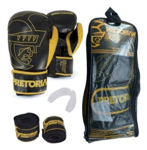 Kit Muay Thai Boxe Pretorian Luva Core Preta E Amarela 14 Oz