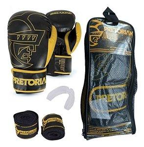 Kit Muay Thai Boxe Pretorian Luva Core Preta E Amarela 12 Oz