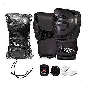 Kit Muay Thai Boxe Naja Luva+ Bandagem + Bucal Preta 12 OZ