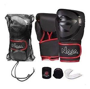 Kit Muay Thai Boxe Naja Luva Preta E Vermelha 14 Oz
