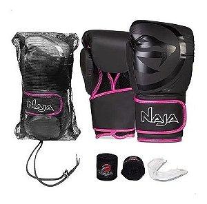 Kit Muay Thai Boxe Naja Luva Preta e Rosa 10 Oz