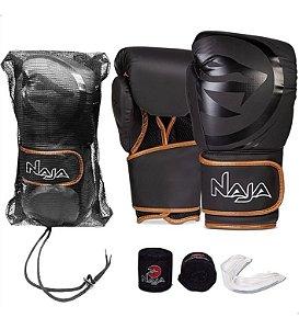 Kit Muay Thai Boxe Naja Luva Black Line + Bandagem + Bucal