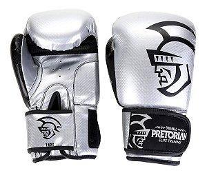 Luva Boxe/Muay Thai Pretorian Elite Prata e  Preto 12 Oz