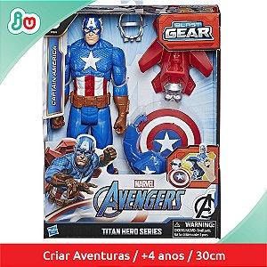 Boneco Capitão América c/ Lançador Blast Gear Hasbro E7374