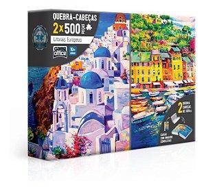 Quebra-cabeça 2x 500p Litorais Europeus Grécia E Itália