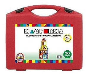 Brinquedo Educativo Magnético Mag Forma Maleta Vazado 20 Pç