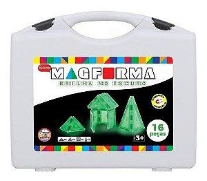 Brinquedo Magnético Mag Forma Maleta 16 Pç Brilha No Escuro