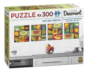 Quebra-cabeça Puzzle 4 X P300 Peças Decorart Pop Art Fruits