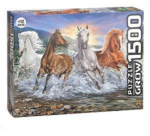 Quebra-cabeça Puzzle P1500 Peças Cavalos Selvagens Grow