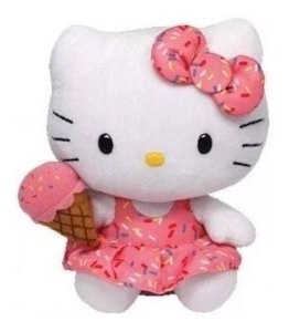 Pelúcia Hello Kitty Sorvete Beanie Babies Ty