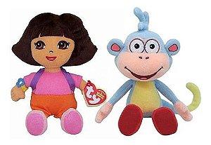 Pelúcia Dora Aventureira E Macaco Botas Beanie Babies Ty Dtc